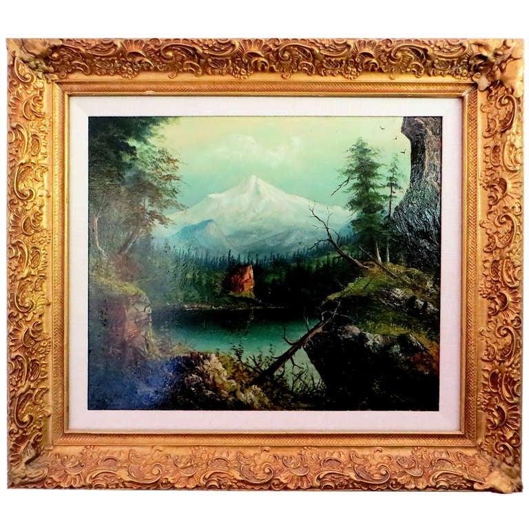 "Oil Painting on Board of ""Mount Hood"" by R. Jones, circa 1907"