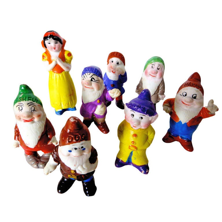 """""""Snow White and the Seven Dwarfs"""" Bisque Figures Play Set, circa 1938"""
