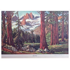 """Majestic Redwoods"" Lithograph by Frederick W. Becker, circa 1952"