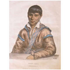 """Mckenny and Hall Hand-Painted Lithograph """"Paddy-Carr Creek Interpreter"""", 1838"""