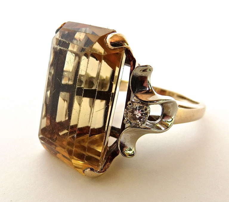 Art Deco Citrine Cocktail Ring, circa 1950s For Sale