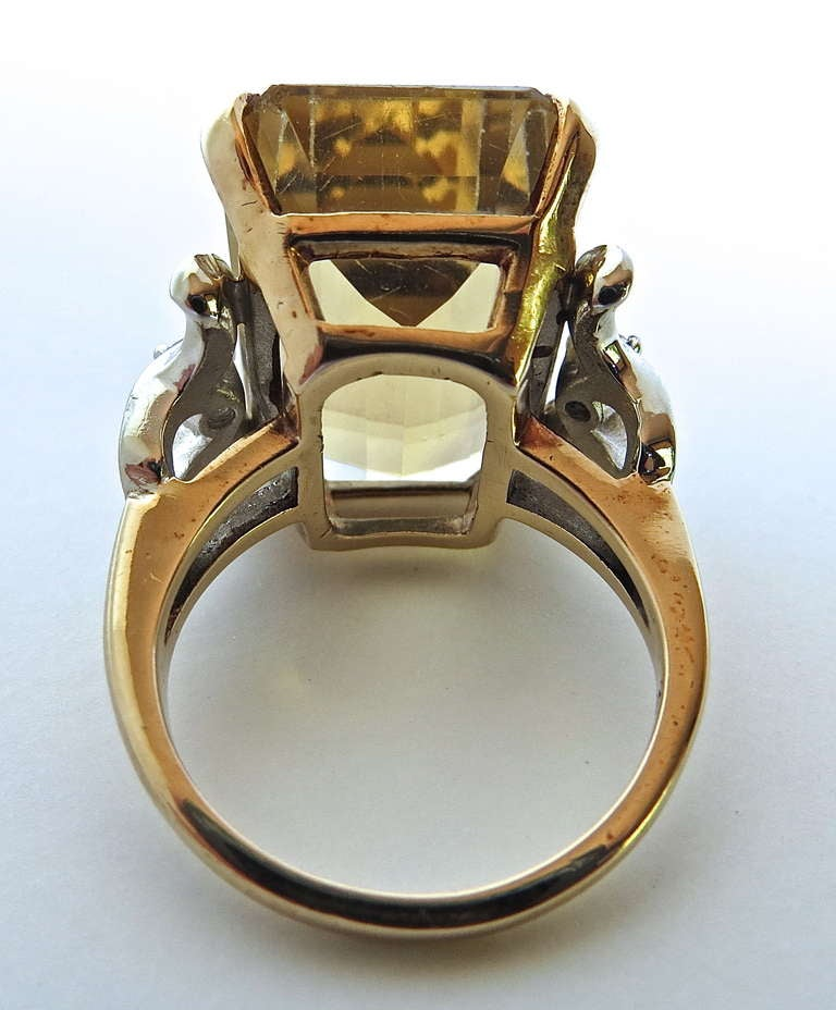 American Citrine Cocktail Ring, circa 1950s For Sale