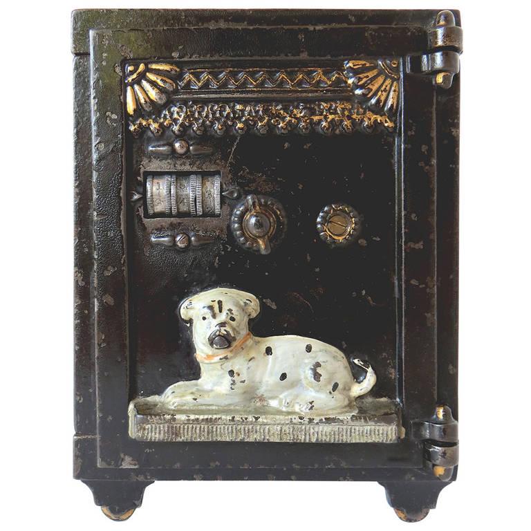 """Mechanical Bank, """"Watchdog Safe"""" in Cast Iron, circa 1890"""