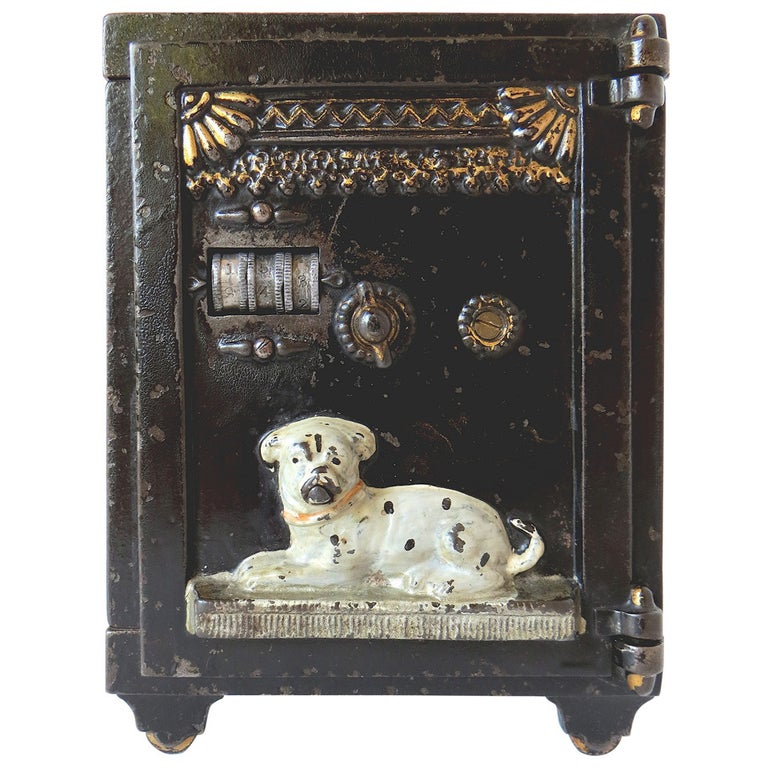 "Mechanical Bank, ""Watchdog Safe"" in Cast Iron, circa 1890 For Sale"