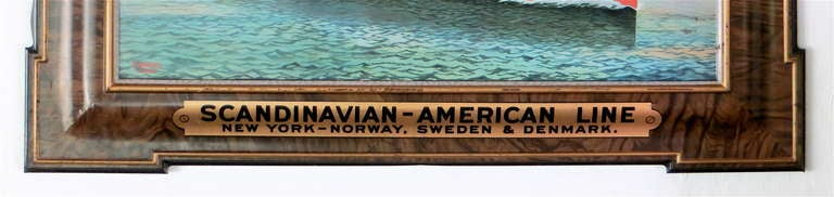 American Advertising Self Framed Tin Sign for Steamship Company, circa 1920 For Sale
