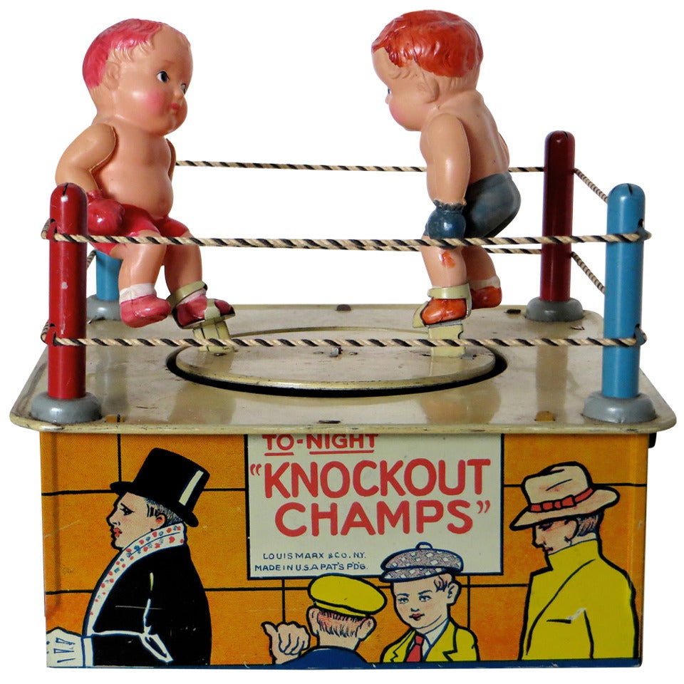 """Wind-Up Toy """"KnockoutChamps"""" with Original Box, circa 1930"""