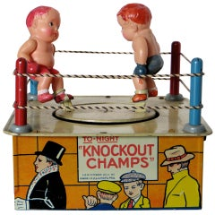 "Wind-Up Toy ""KnockoutChamps"" with Original Box, circa 1930"