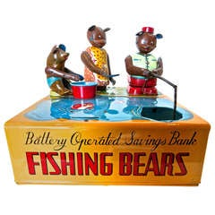 Mechanical Bank 'Fishing Bears', circa 1950s