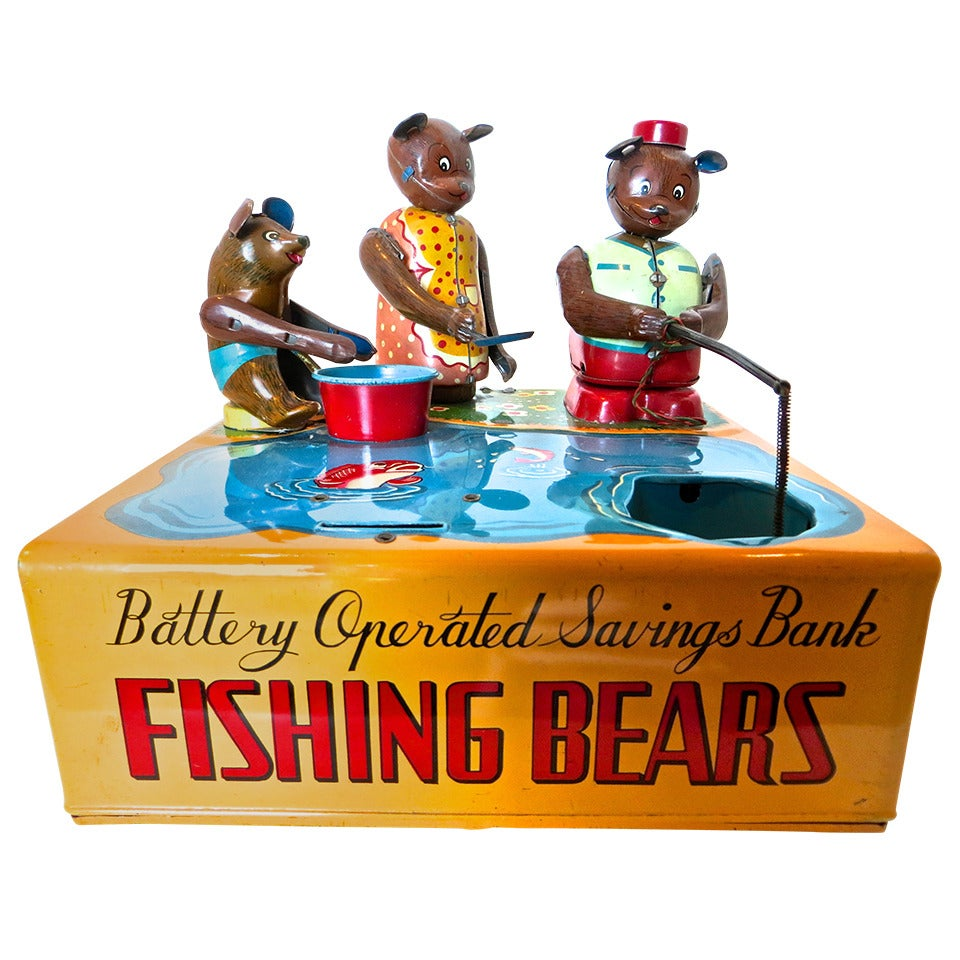 Mechanical Bank 'Fishing Bears', circa 1950s