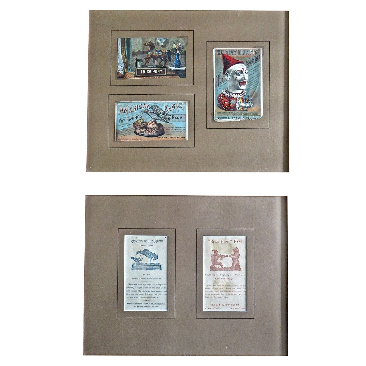 Five Mechanical Bank Trade Cards in Frame, circa 1880s