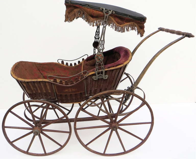 19th Century Victorian Fancy Baby Carriage Circa 1878 For