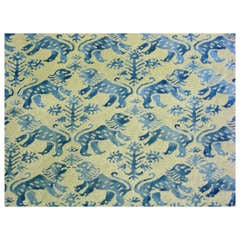 Fortuny 'Richelieu' Gold Metallic Ground Blue Lions Draperies with Provenance
