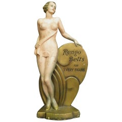 "1920s Art Deco Large ""Rengo Belts"" Advertising Statue"