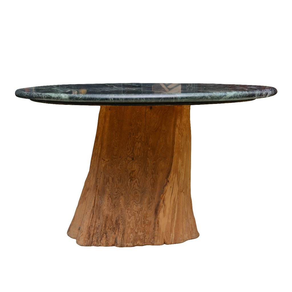 Organic michael taylor tree trunk marble dining table mid for Tree trunk dining table