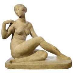 "Beautiful Marcel Bouraine Sculpture, ""Awakening,"" 1930, in Cast Stone Art Deco"