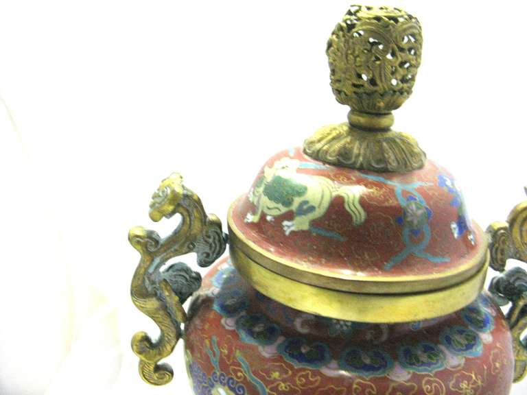 Chinese Export Republic Period Chinese Cloisonne Gilt Tripod Lidded Censer For Sale