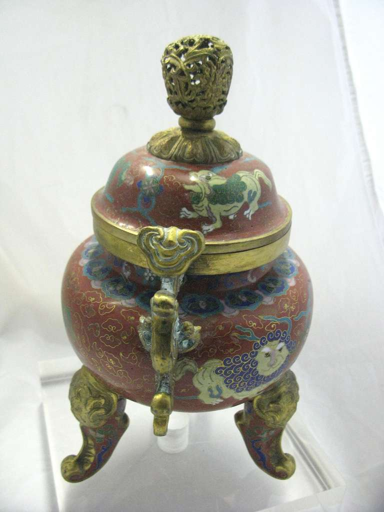 Cloissoné Republic Period Chinese Cloisonne Gilt Tripod Lidded Censer For Sale