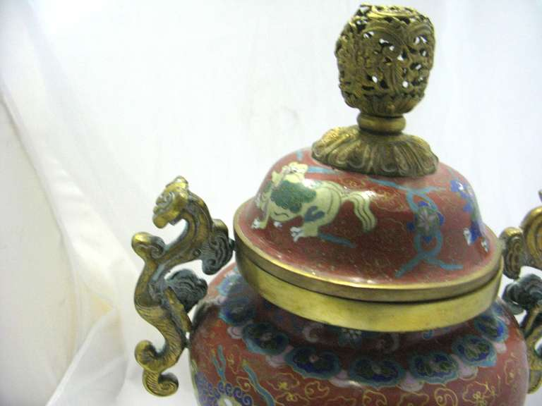 20th Century Republic Period Chinese Cloisonne Gilt Tripod Lidded Censer For Sale