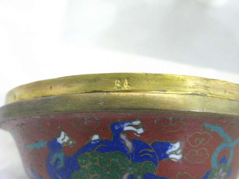 Republic Period Chinese Cloisonne Gilt Tripod Lidded Censer For Sale 1