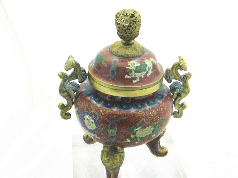An early 20th century Chinese Republic bronze gilt cloisonne tripod censer 