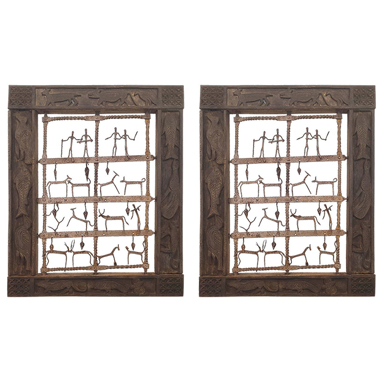Ethnographic Pair of Wood Carved Animals Wall Panel with Metal Animals & Figures