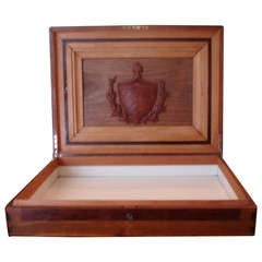 Cuban Wood Cigar Humidor Cuba's Coat of Arms- circa 1940---with Provenance