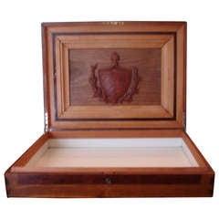 Treasure--Cuban Wood Cigar Humidor Cuba's Coat of Arms- circa 1940---Provenance