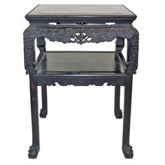 Chinese Qing Hardwood Highly Carved Table Tabouret Marble Inlay Top, circa 1830
