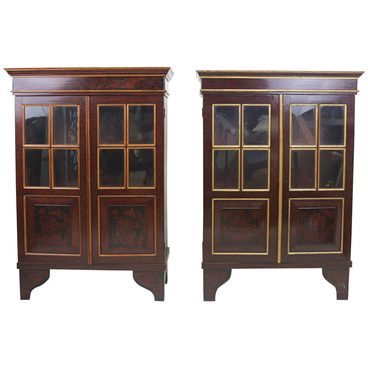 19th Century Gorgeous Pair of Dutch Colonial Red Lacquered Cabinets-Provenance
