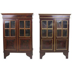 19th Century Gorgeous Pair of Dutch Colonial Floral Motif Cabinets
