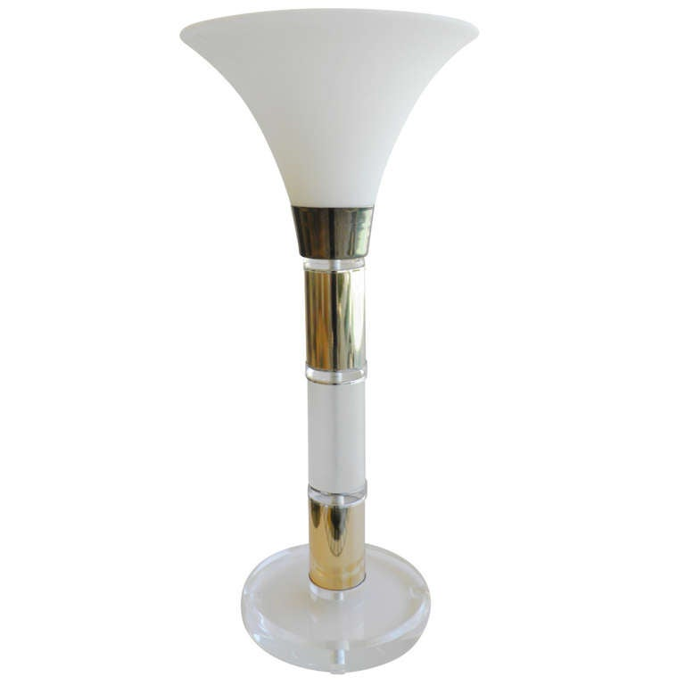 Large Lucite Brass Urn Table Lamp Glass Shade, 1960s