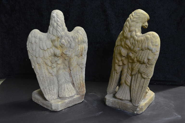 American Classical Garden Cast Stone Eagles-Fountain/ Statue. with Provenance For Sale
