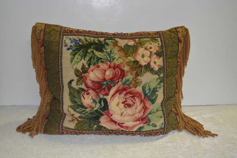 Vintage Pair Of Handcrafted Cabbage Rose Needlepoint