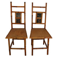 Exotic Bamboo Chinoiserie Side Chairs-Peacocks & Butterfly Inset Paintings 19thc