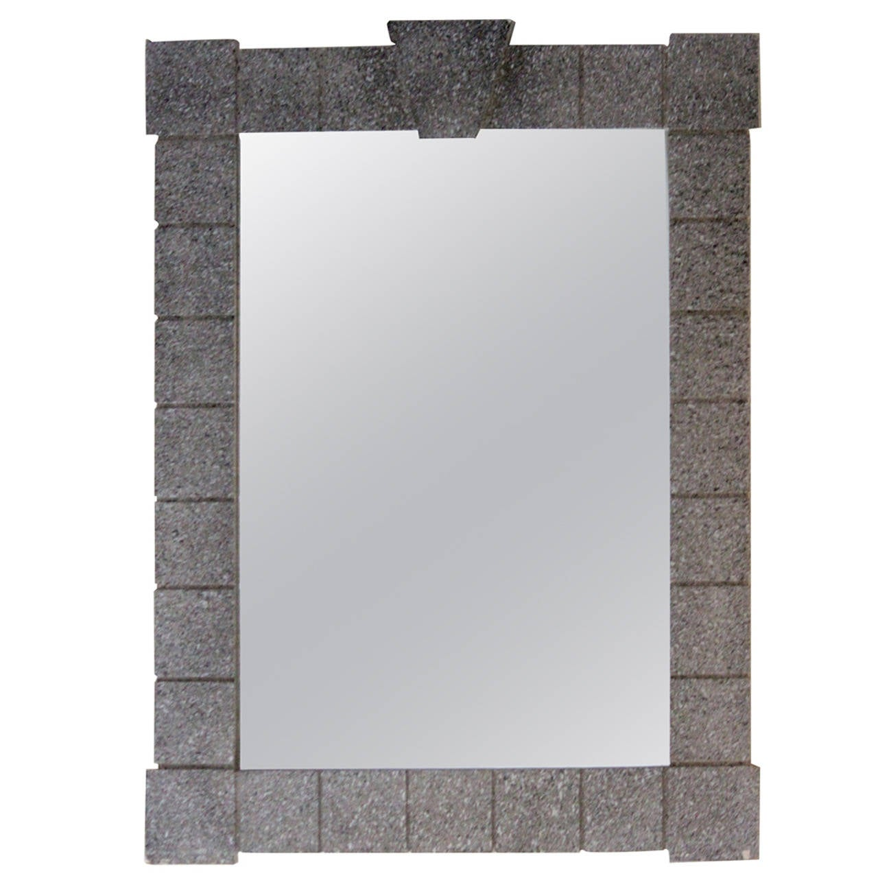 1970s Mirror Architectural Delineated Faux Stone