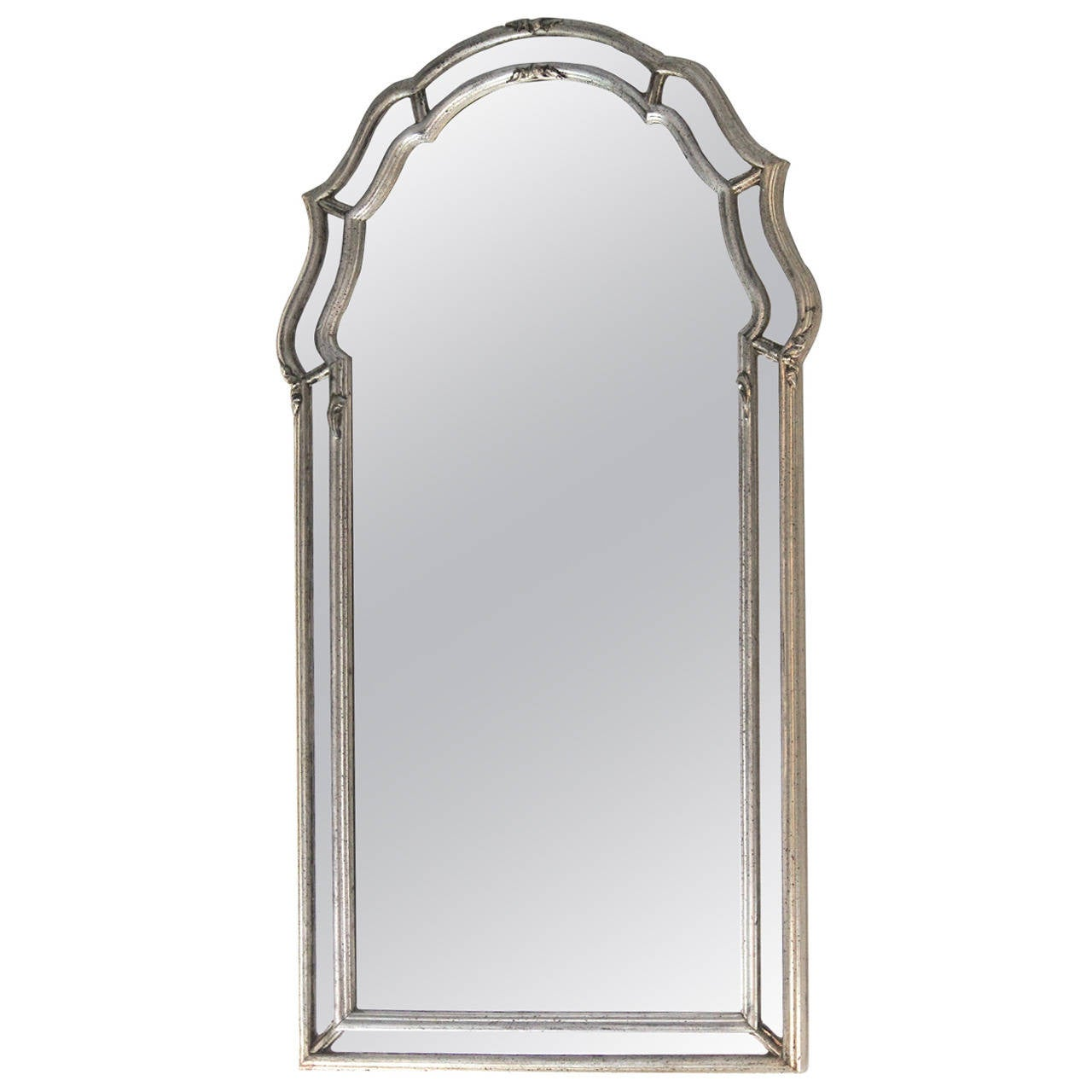 Mid-Century La Barge Italian Regency Double Frame Aged Silver Leaf Mirror