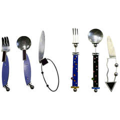 Noted Artist Mardi Jo Cohen Modern 1989 Sterling and Gemstone Flatware Set