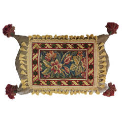 Exotic Vintage Needlepoint Panel with Tassel Fringe Trim and Tassel Corners