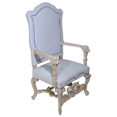19th Century Highly Carved BaroquenThrone Armchair Bleached with Linen Upholster