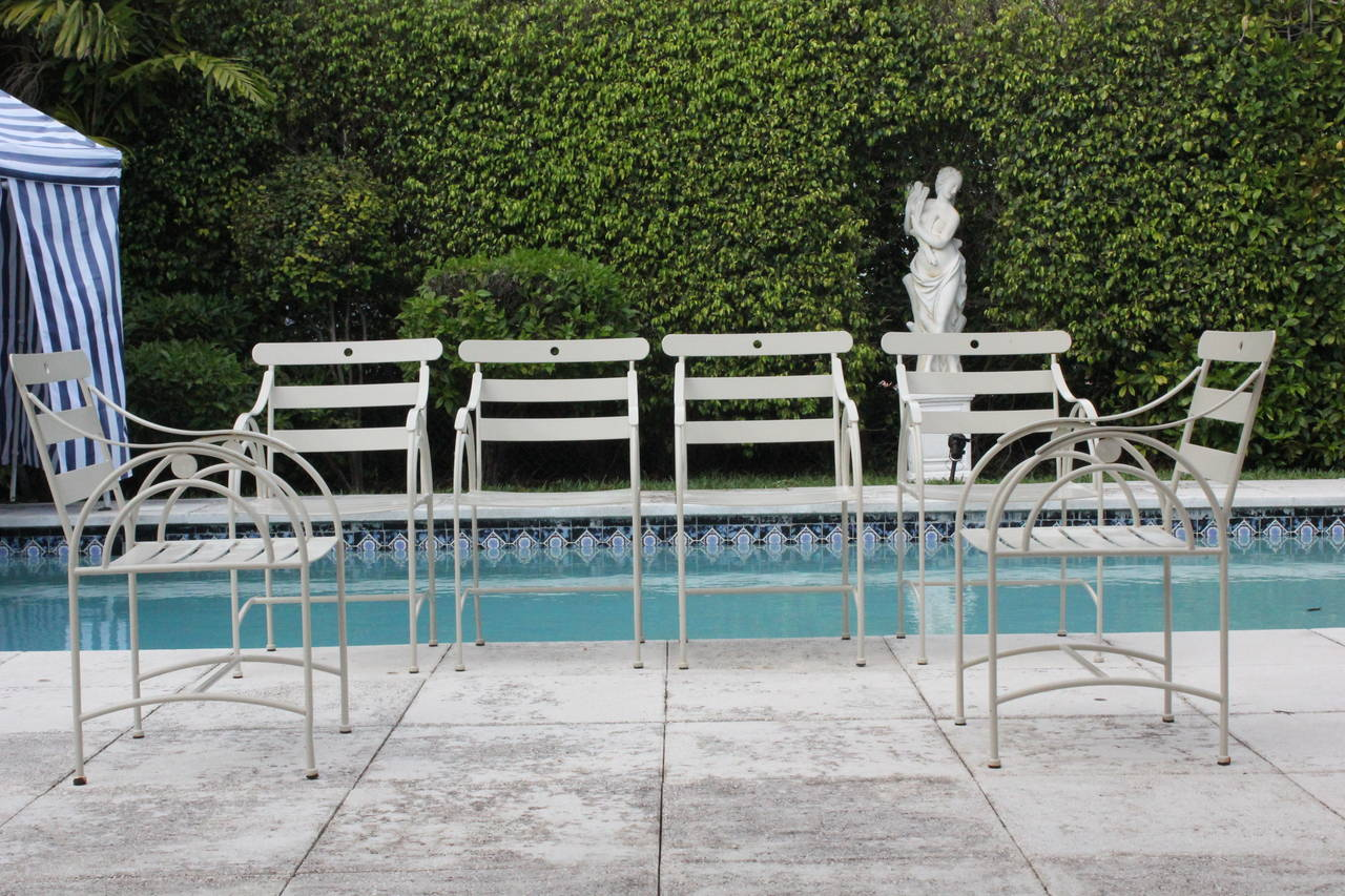 Set Of Six Designer Sculptural Art Deco Garden Chairs Mid Century At 1stdibs