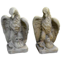 Garden Cast Stone Eagles-Fountain/ Statue. with Provenance