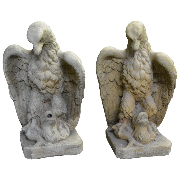 Garden Cast Stone Eagles-Fountain/ Statue. with Provenance For Sale