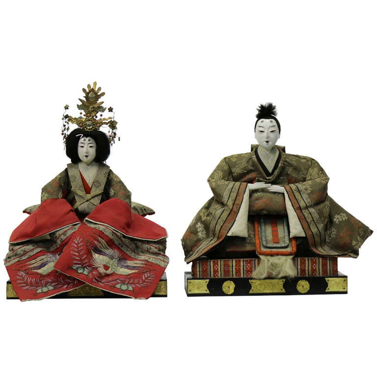Signed Meiji Period Japanese Emperor and Empress Dolls with Provenance