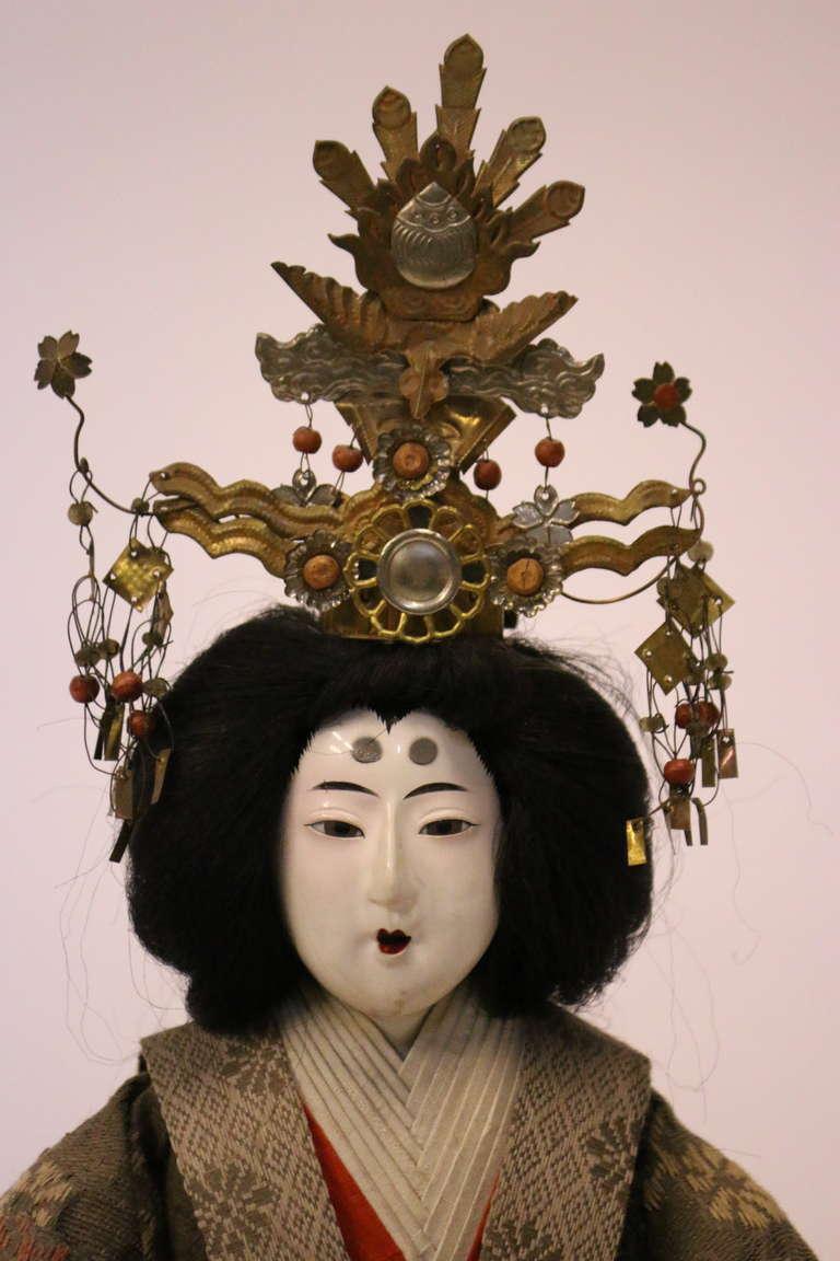 Fabric Gofun Meiji Period Hina Japanese Emperor and Empress Dolls Provenanc, circa 1868 For Sale