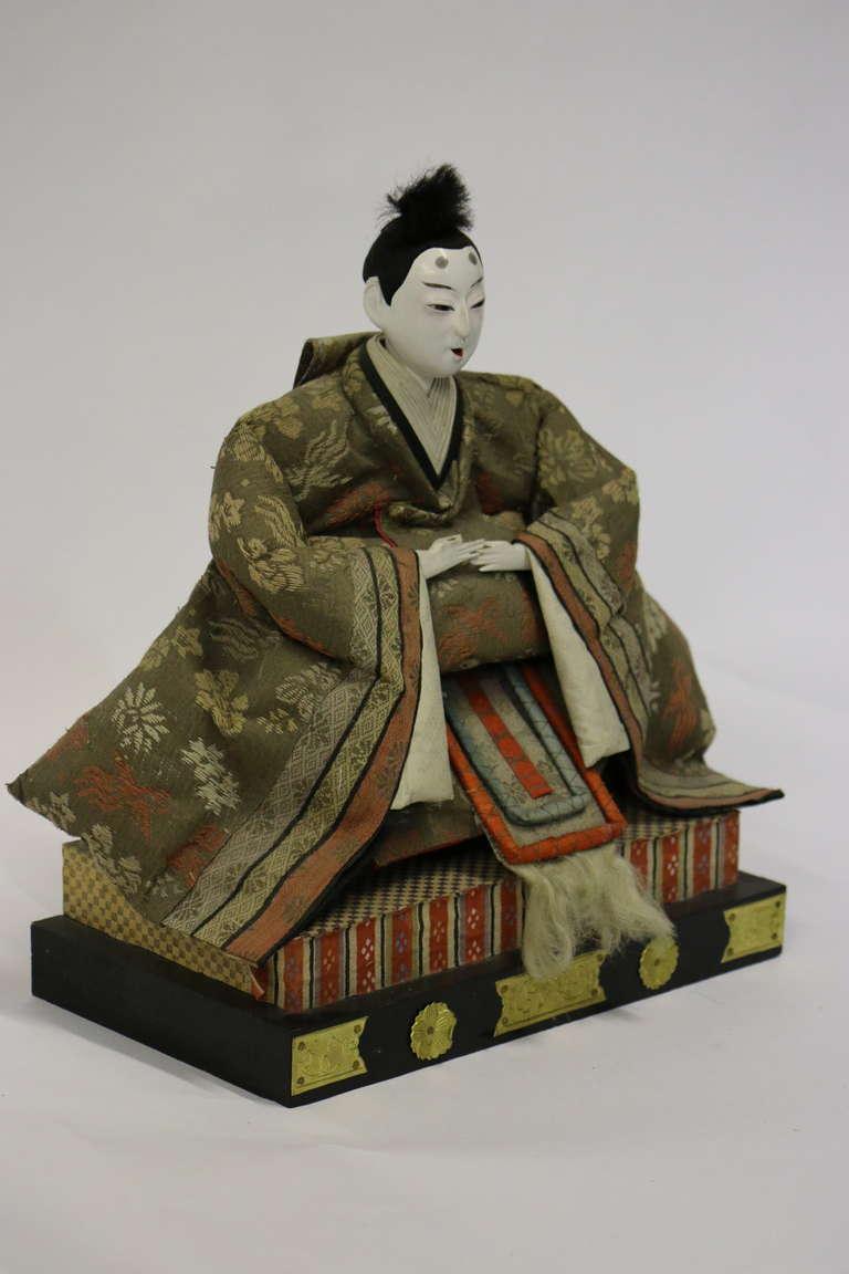 Gofun Meiji Period Hina Japanese Emperor and Empress Dolls Provenanc, circa 1868 For Sale 3
