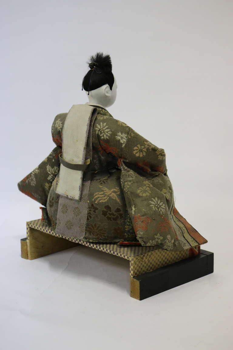 Gofun Meiji Period Hina Japanese Emperor and Empress Dolls Provenanc, circa 1868 For Sale 4