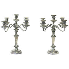 19th Century Pair Sheffield St. Hallmarked Silver Candelabra-Provenance