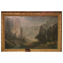 Large Oil Attributed to California Artist Thomas Hill 'Yosemite Valley'