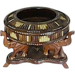Unique 19th Century Anglo-Indian, Wood Quill Bowl Supported by Elephant Stand