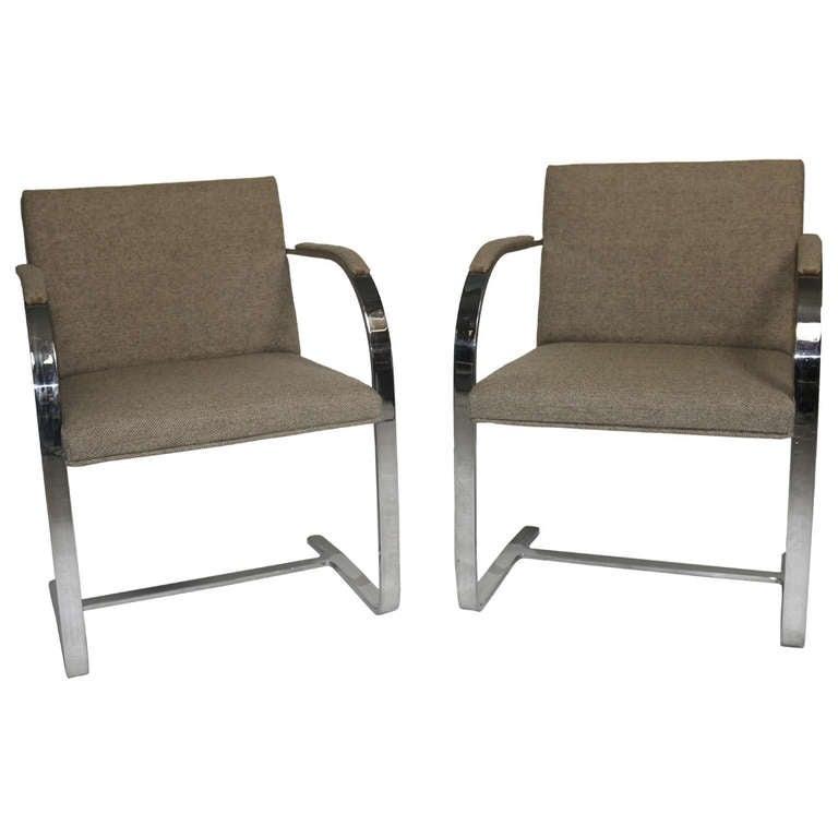 Mies Brno Chair pair of mies van der rohe 'brno' chairs flat bar-harris tweed
